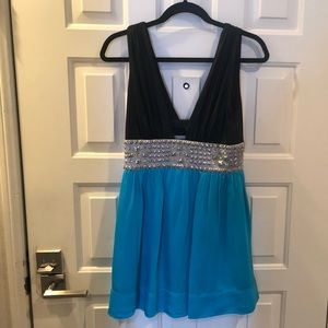 Bebe black and blue party dress